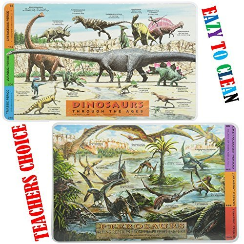 Painless Learning Educational Placemats for Kids Dinosaurs and Pterosaurs [Set of - Placemat Dinosaur