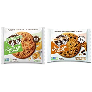 Lenny & Larry's The Complete Cookie, Apple Pie, Soft Baked, 16g Plant Protein, Non-GMO, 4 Ounce Cookie (Pack of 12) & The Complete Cookie, Peanut Butter Chocolate Chip, 2 Ounce Cookies - 12 Count