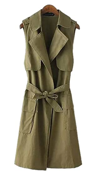 Women's Fashion Loose Sleeveless Belted Lapel Casual Trench Vest Coat Jacket