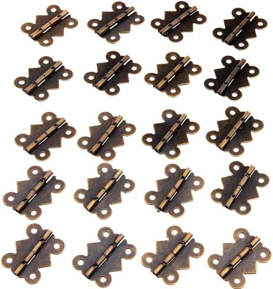 20pcs Antique Bronze Scharnier K/üchenschr/änke M/öbelzubeh/ör Schmuck Vintage-holz-box Scharniere Beschl/äge