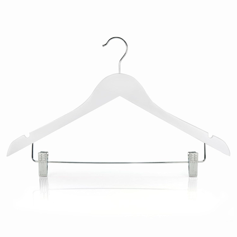 HANGERWORLD 10 Perchas 45cm Madera Blanca con Pinzas de Metal para Pantalones y Muescas para Tirantes