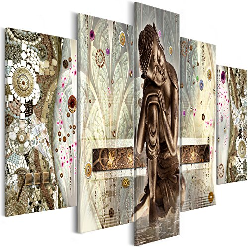 murando - Cuadro en Lienzo Buda Zen 200x100 cm Impresion de 5 Piezas Material Tejido no Tejido Impresion Artistica Imagen Grafica Decoracion de Pared Tejido-no Tejido – Oriental p-A-0027-b-m