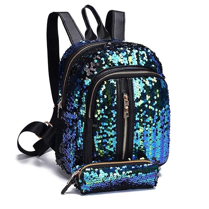 Gusspower Moda 2 Piezas Lentejuelas Bolso del Bolso del Hombro Mochilas Escolares para Mujeres niñas+Bolso de Embrague Monedero (Azul): Amazon.es: Deportes ...