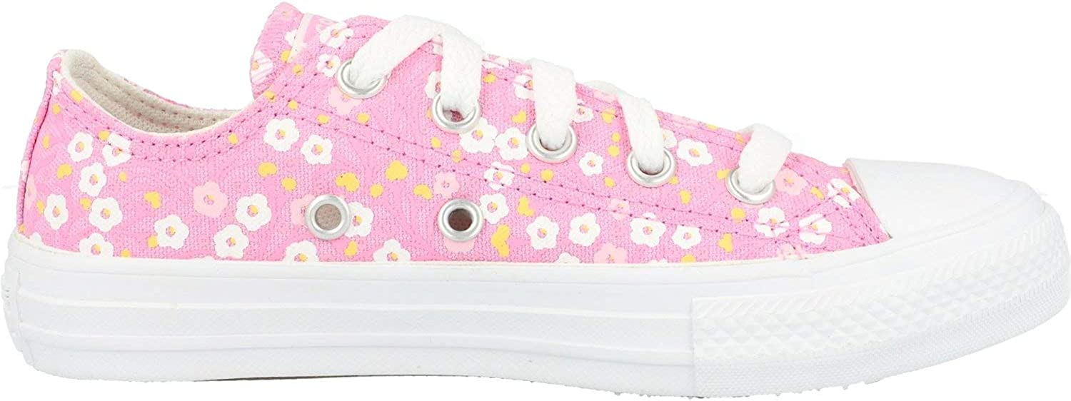 Converse Chuck Taylor All Star Ditsy Floral Ox Rose/Blanc (Peony Pink/White) Toile Junior Formateurs Chaussures Rose Peony Pink