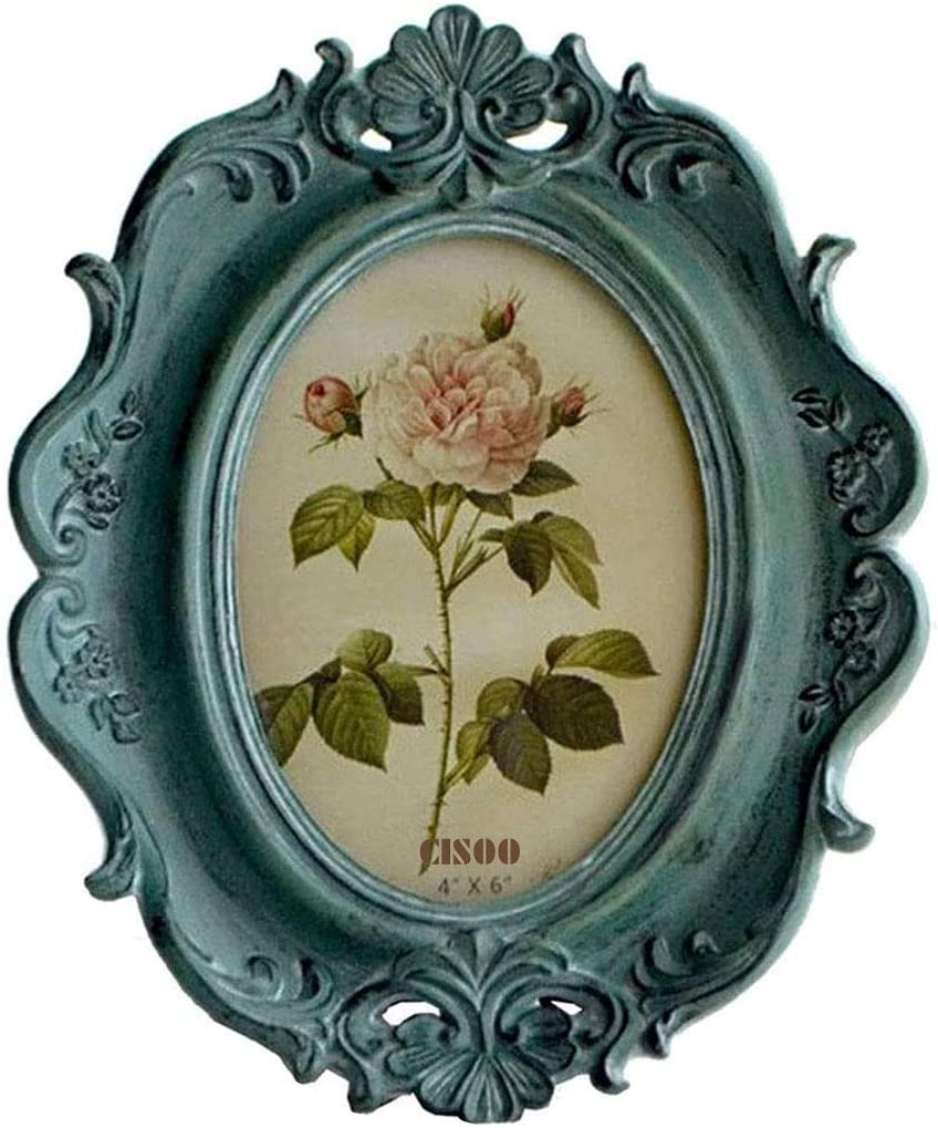 CISOO Vintage Oval Picture Frame 4x6 Antique Photo Frame Table Top Display and Wall Hanging Home Decor (Blue)