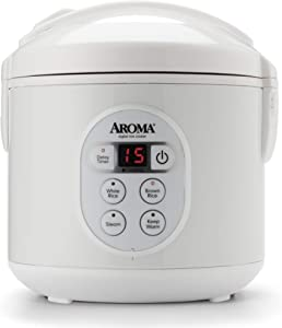 Aroma Housewares 8-Cup (Cooked) (4-Cup UNCOOKED) Digital Rice Cooker and Food Steamer (ARC-914D),White