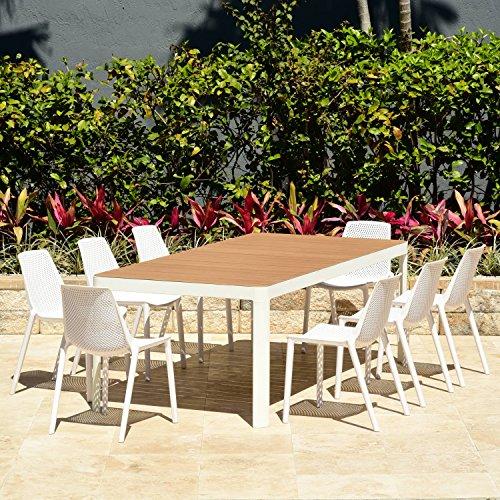 Amazonia Rectangular Miami Patio Dining Set, 9 Piece White (Patio Piece Set 8 Miami)