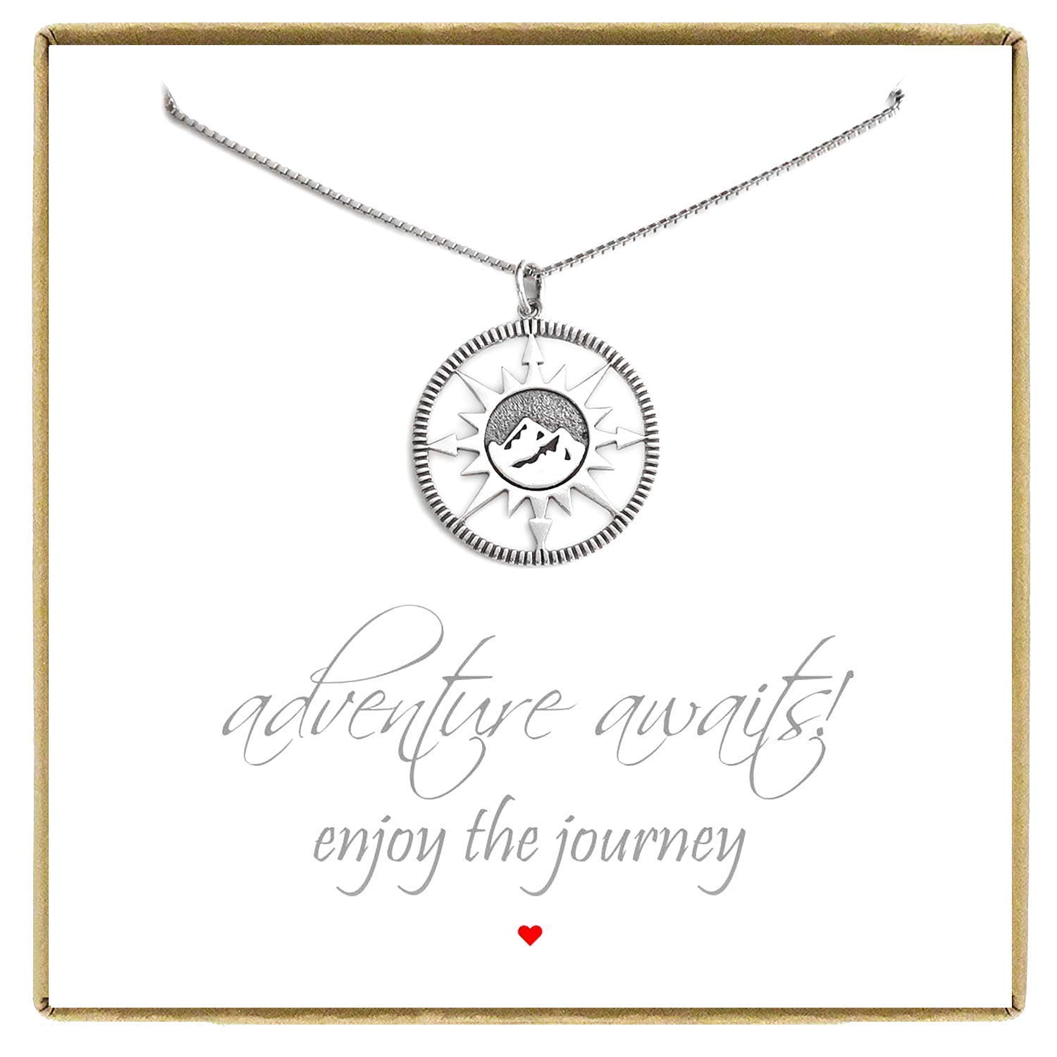 Retirement Gift Necklace,18 inches Graduation Gift Necklace Best Friend Gift Sterling Silver Compass Necklace Adventure Awaits Necklace