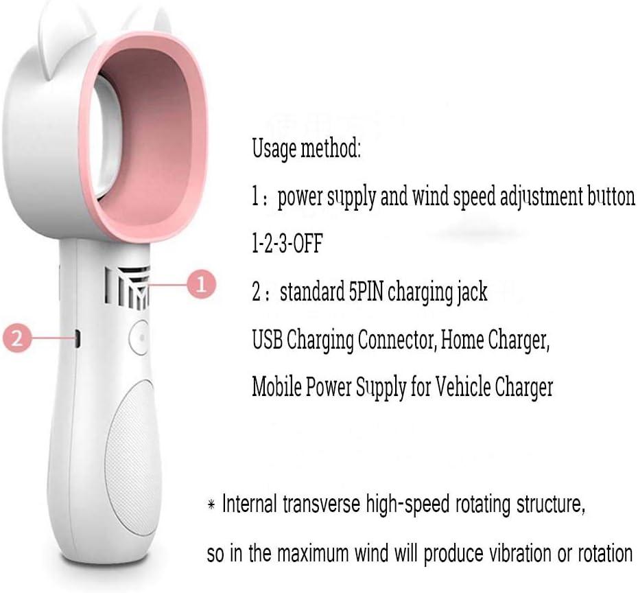 XIAOF-FEN Mini Handheld Portable USB Square Cartoon Cat Ears Portable Long Endurance Leafless Fan USB Fan Color : Black