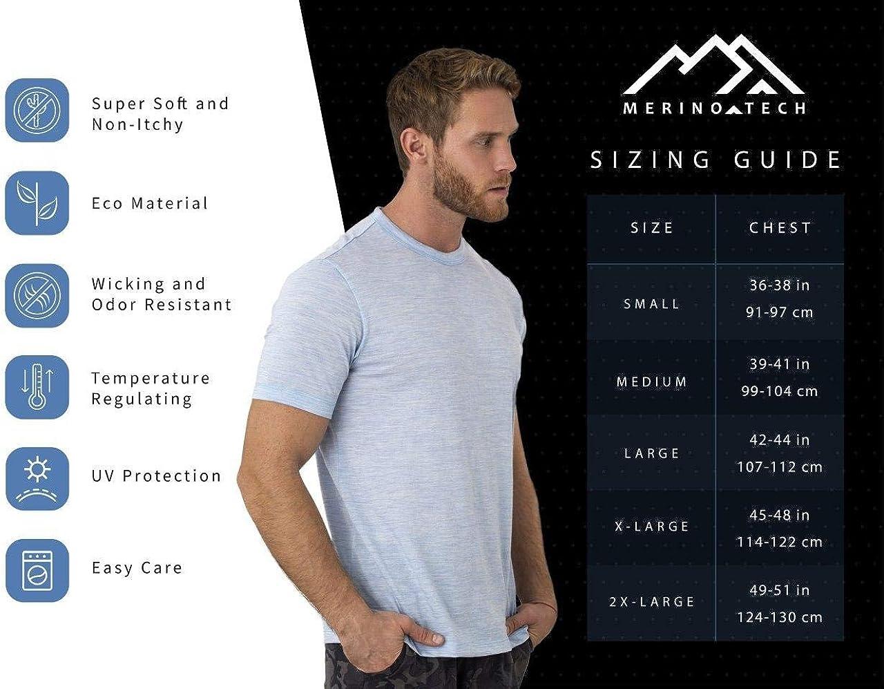 Merino.tech 100% Organic Merino Wool Lightweight Men's Base Layer Thermal T-Shirt + Hiking Wool Socks: Clothing