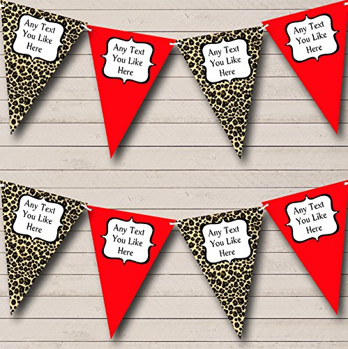 Leopard Print And Red Personalized Birthday Party Bunting Banner Garland ()