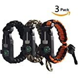 Survival Bracelet Emergency Paracord Tactical Bracelet Kit with Gear, Compass, Fire Starter, Knife, Whistle - Ideal for Hiking, Camping, Fishing, Hunting, Even in Dangerous