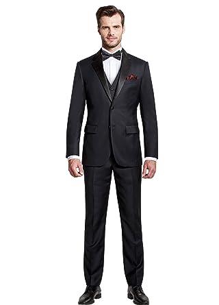 Dressvip Costume Homme pour Mariage Fête Couleur Unie Noir Deux Boutons 3 Pièces  Slim Fit Veste 5fe01973491