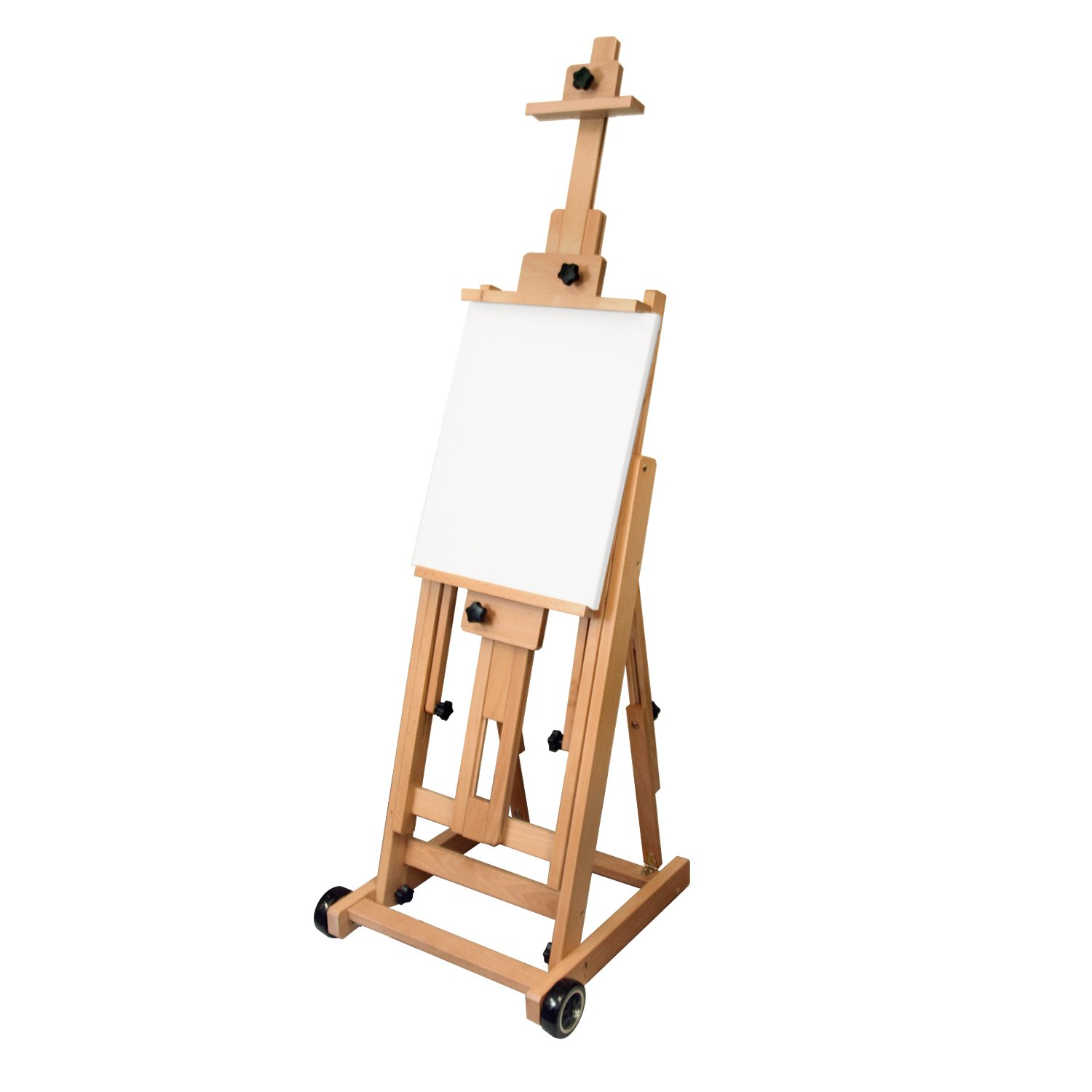 US Art Supply Master Multi-Function Studio Artist Wood Floor Easel, 19''Wide x 21''Deep x 56-1/2''High, (Adjusts to 97''High) by US Art Supply (Image #1)