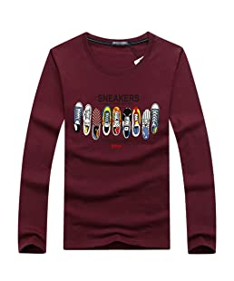 Yuanu Uomo Top Girocollo Tempo Libero Sfuso Scarpe Colorate Stampa Cotone A Maniche Lunghe T-Shirt Vino Rosso 3XL