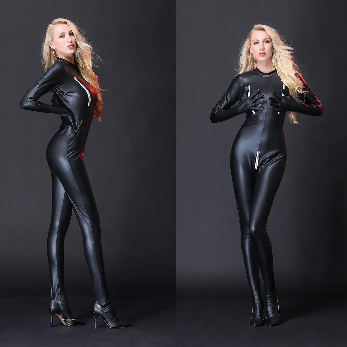 W&TT Sexy Cuero Traje de Montar Cremallera Pantalones de Cuero Sexy Wetlook Catsuit Leotardo Babydoll Papel Partido Clubwear,negro,XL af893b