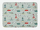 Ambesonne Lighthouse Bath Mat, Seagulls Lighthouses Message Bottles Steamboats Sailboats Wavy Pattern Nautical, Plush Bathroom Decor Mat with Non Slip Backing, 29.5 W X 17.5 W Inches, Multicolor