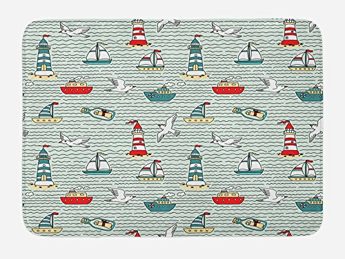 Ambesonne Lighthouse Bath Mat, Seagulls Lighthouses Message Bottles Steamboats Sailboats Wavy Pattern Nautical, Plush Bathroom Decor Mat with Non Slip Backing, 29.5