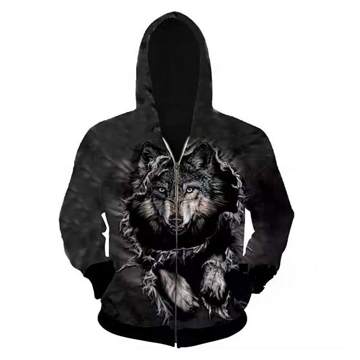 Fmeijia Men Hoodies 3D Wolf PrintZipper Jacket Sweatshirt Loose Sport Pullover Tops