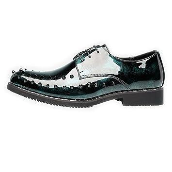 Bangxiu Zapatos de Cuero de los Hombres Zapatos de Cuero Suaves de la PU Prom Mocasines Oxford Estilo Forro Transpirable con Remaches Zapatos de Vestir ...