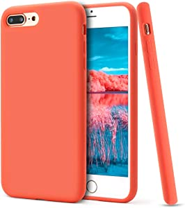 MUNDULEA Compatible for iPhone 7 Plus/iPhone 8 Plus Case,Liquid Silicone Rubber Soft Microfiber Full Protective Cover Compatible for iPhone 7 Plus/iPhone 8 Plus (Coral Orange)