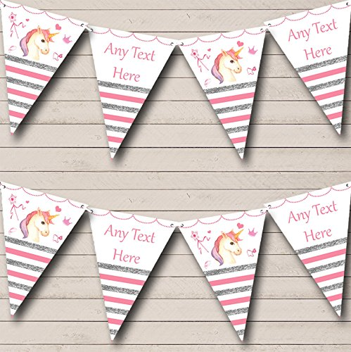 Silver & Pink Stripes Unicorn Personalized Baby Shower Bunting Flags Banner
