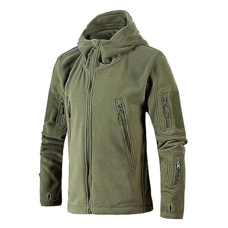 caidi Militar Resistente al Viento Chaqueta de Forro Polar cálido con Capucha Chaqueta Chaleco con Capucha