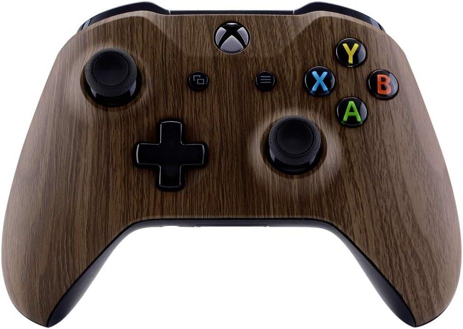 eXtremeRate Coque Avant,Boîtier Housse de Remplacement pour Xbox One XS Manette Contrôleur(Modèle 1708) Grain de Bois