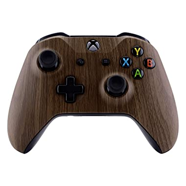 eXtremeRate Wood Grain Patterned Front Housing Shell Faceplate for Xbox One S & Xbox One X Controller