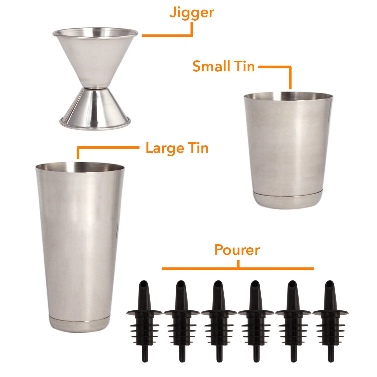 16 Pcs Cocktail Shaker Home Bar Set – Complete Bartender Kit with Double Bar Jigger, Pour Spouts, Drink Shaker, Hawthorne Strainer, Bar Spoon, Bottle Opener and Tin Shot Glasses by Lexi Home (Image #4)