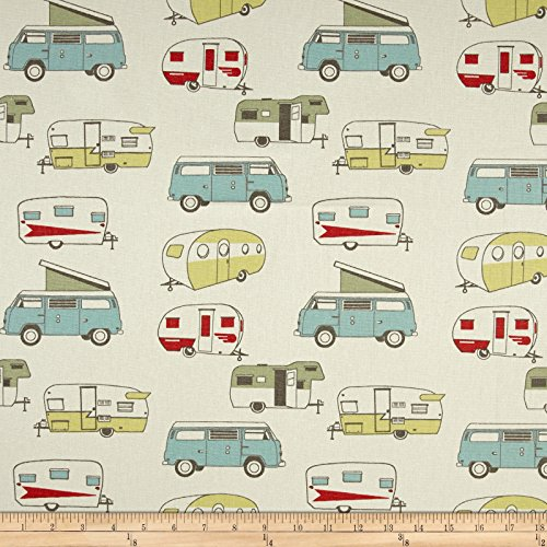 Print Vintage Cotton Fabric - Premier Prints Vintage Camper Formica Fabric by The Yard