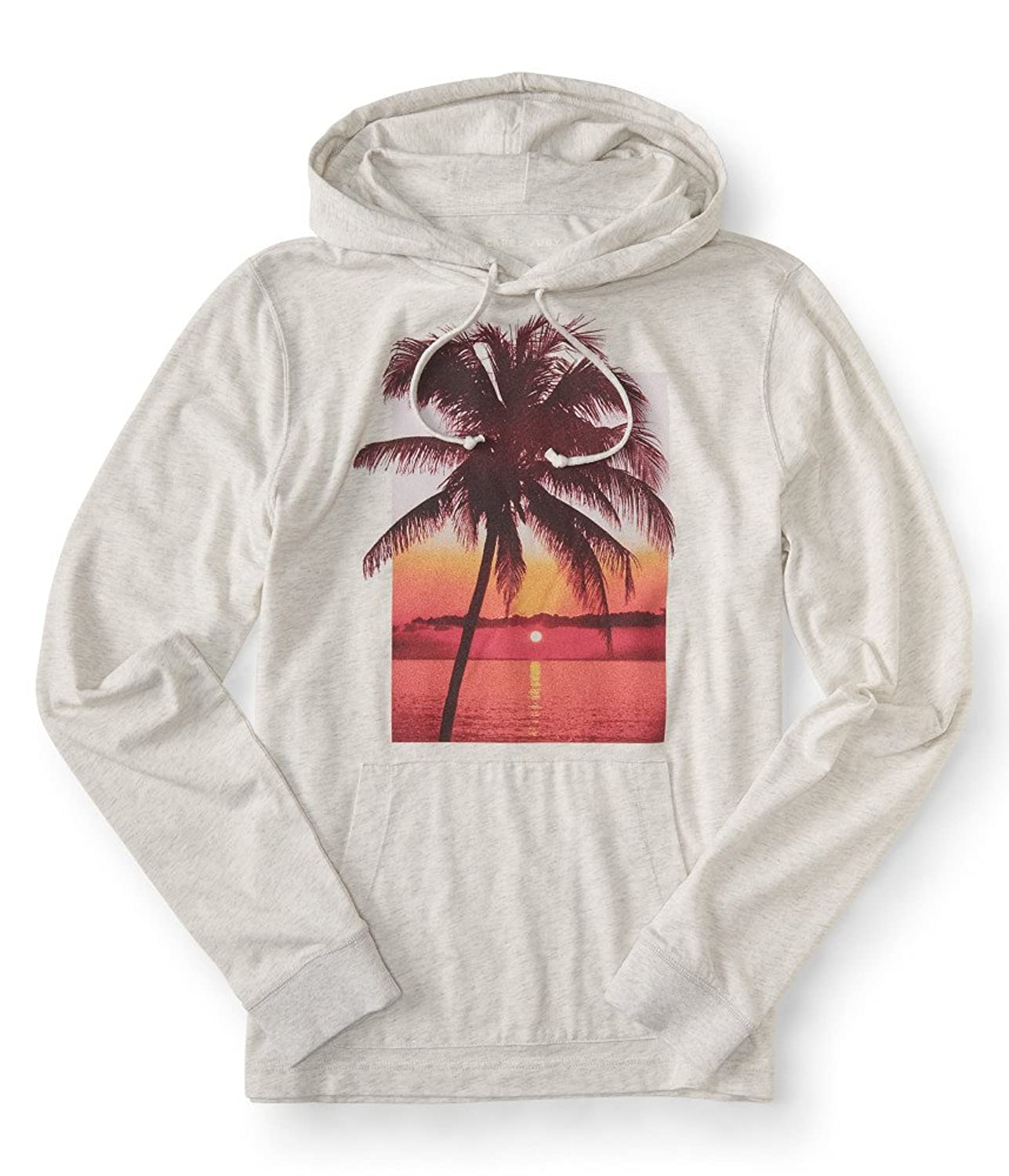 Aeropostale Men's Cape Juby Palm Sunset Hooded Tee Shirt