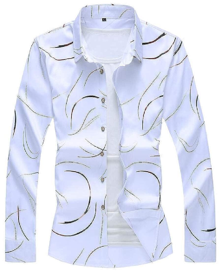 Rrive Mens Button Up Plus Size Shirt Long Sleeve Fall Winter Regular Fit Floral Print Shirt