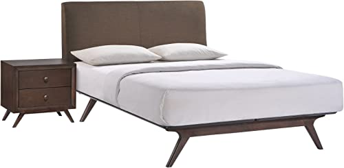 Modway Tracy Mid-Century Modern Wood Platform Queen Size Bed