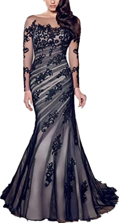Elegant Long Sleeve Prom Dresses Appliques Tulle Mermaid Evening Dress for Women Formal Party Gown
