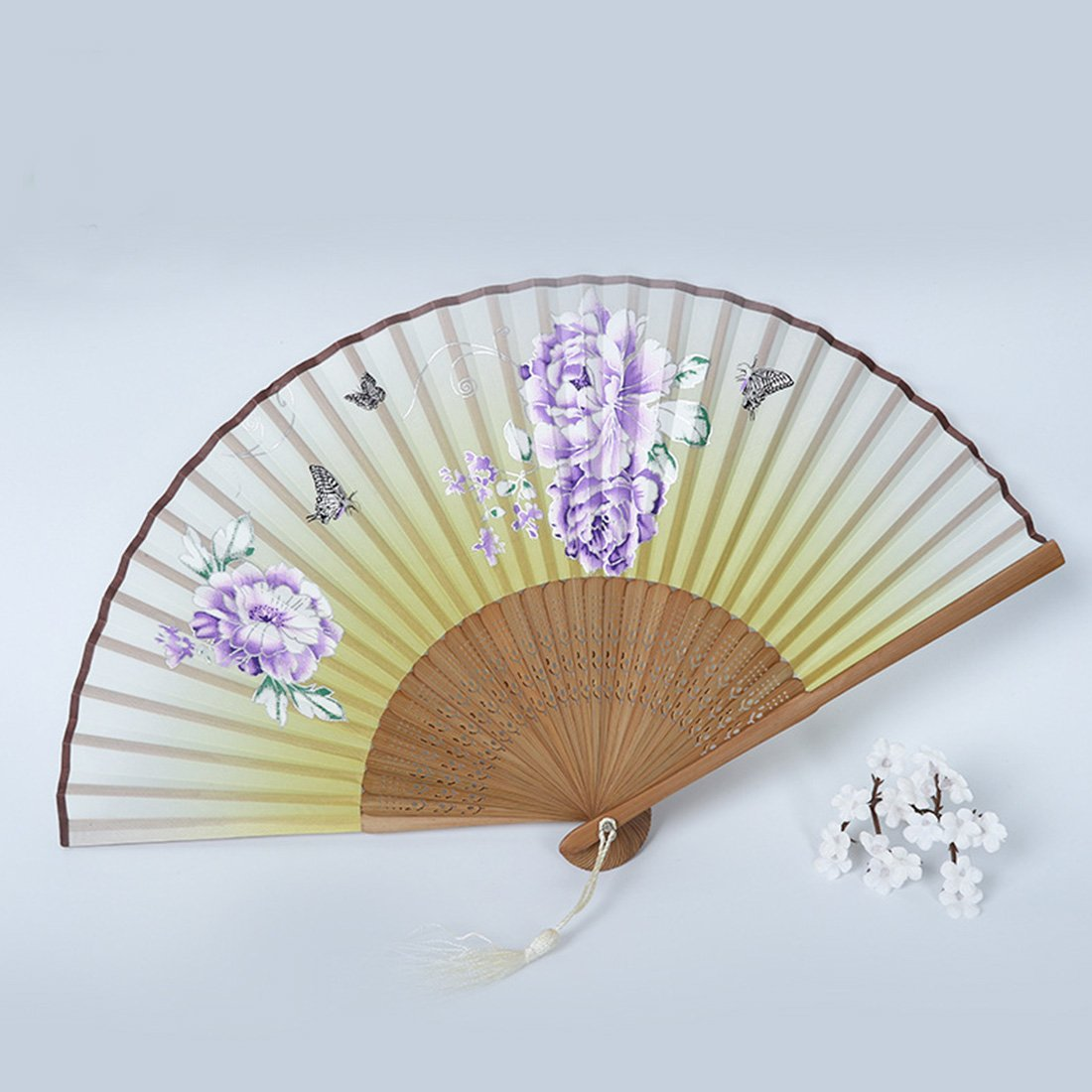 BeneKing Japanese Handheld Folding Fan Chinese Fan Silk Fan Ancient Style