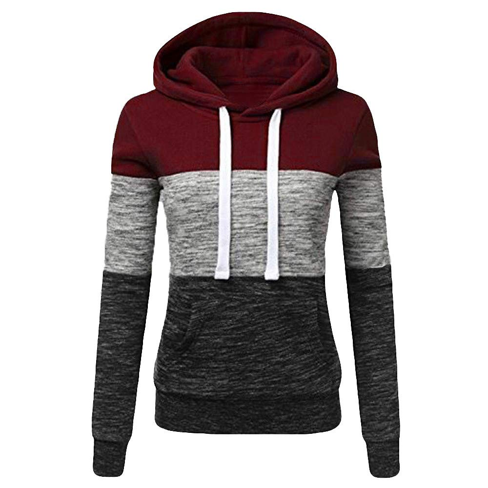STORTO Womens Casual Color Block Hoodies Sweatshirt Patchwork Drawstring Pullover Tops Wine