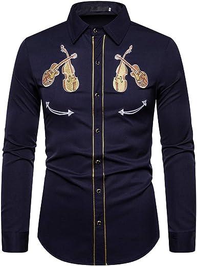 Loeay Camisa Blanca Bordada Western Cowboy Violin Pattern Vestido Social de Manga Larga Camisas para Hombre Casual Slim Fit Streetwear: Amazon.es: Ropa y accesorios