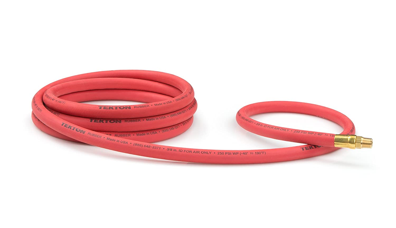 TEKTON 46334 3/8-Inch I.D. by 10-Foot 250 PSI Rubber Lead-In Air Hose with 1/4-Inch MPT Ends