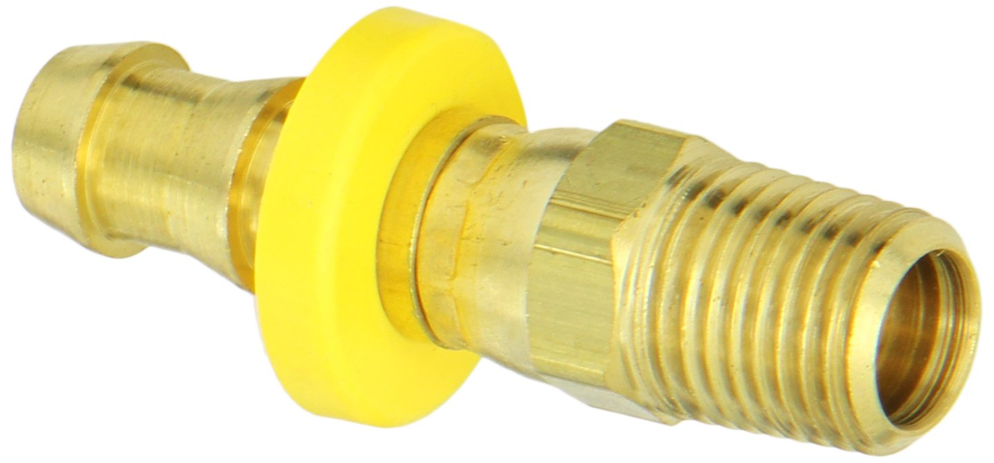 Anderson Metals Brass Push-On Swivel Hose Fitting, Connector, 3/8'' Barb x 1/4'' Male Pipe by Anderson Metals