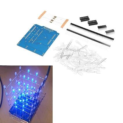 Amazon com: ILS  - 4X4X4 Blue LED Light Cube Kit 3D LED DIY