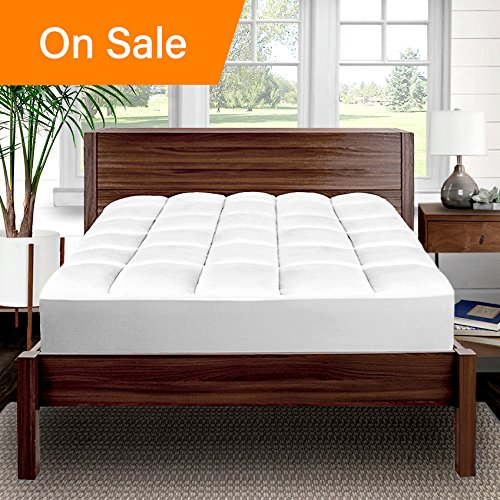 Pillow-Top Premium Mattress Pad - 1.5 Inch Cooling Down Alternative Polygel Filled Microplush Super-Soft Hypoallergenic Topper (Queen Size Pillow Dimensions)