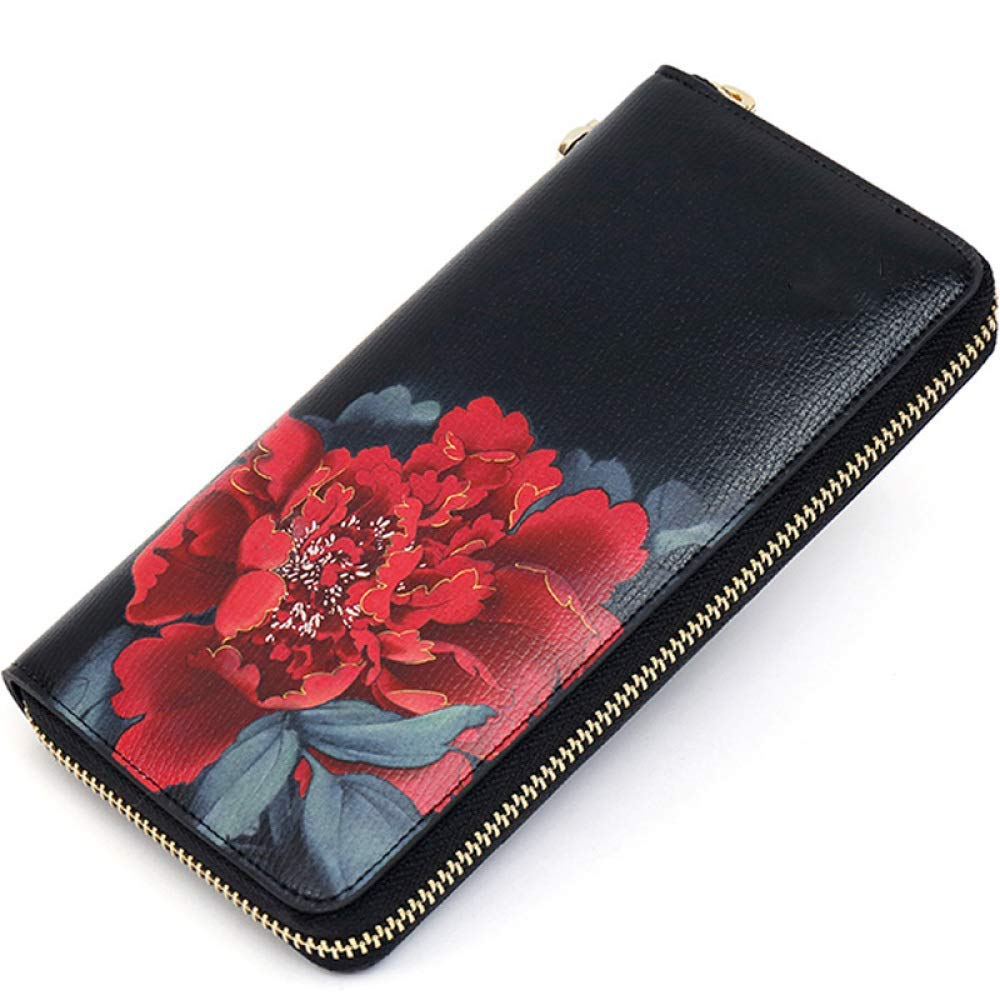 Soft Clutch Bag Female Wallet Female Long Section Large Capacity Can Put Mobile Phone Retro Wild Mom Wallet Leisure,Black,Wallet Handbag