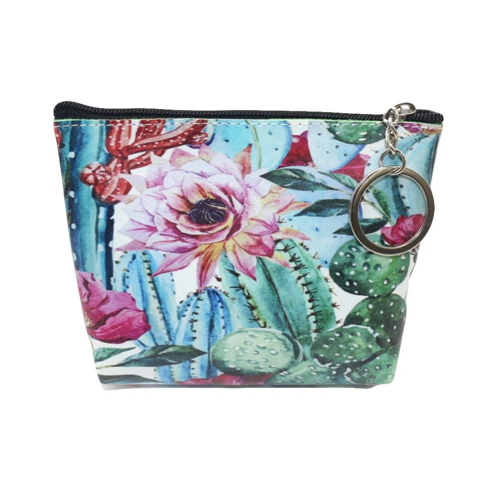 LiPing 9''Printing Flower Travel Cosmetic Clutch Bag Makeup Case Pouch Toiletry Wash Organizer for Travel Toiletry Beauty Zipper Bag for Women (A)