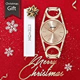 ✲Christmas Gifts✲ ETEVON Women's Quartz Rose Gold Wrist Watch with Simple Dial Style and Round Hollow Bracelet Water Resistant, Fashion Luxury Dress Watches for Women