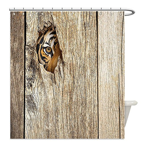 [Liguo88 Custom Waterproof Bathroom Shower Curtain Polyester Tiger Safari Decor Siberian Tiger Eye Looking Through Wooden Peep Hole in Spy Predator Big Cat Wild Image Theme Ivory Black Decorative bath] (Predator Costume Walmart)