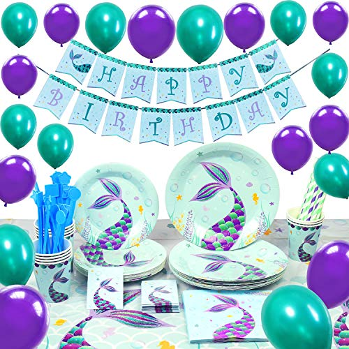 WERNNSAI Pool Mermaid Party Supplies Kit - Party Favors Girls Birthday Party Decoration Cutlery Bag Table Cover Plates Cups Napkins Straws Utensils Birthday Banner & Balloons Serves 16 Guests 169 PCS]()