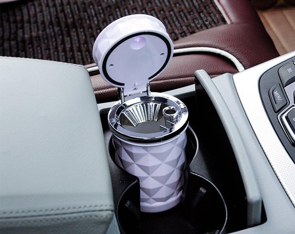 SOEKAVIA Tragbare Auto Rauchfreien Zylinder Cup Holder mit Licht-Wei/ß Aschenbecher F/ür Auto