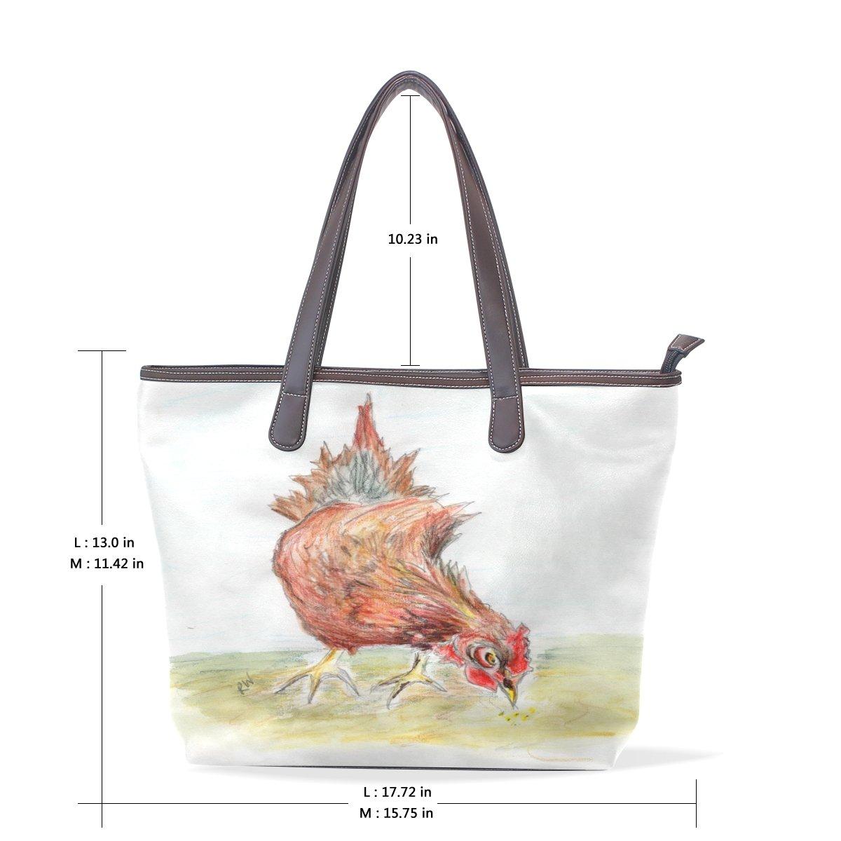 Mr.Weng Household Watercolor Chicken Lady Handbag Tote Bag Zipper Shoulder Bag