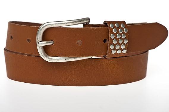 tvin Femme 100% cuir avec rivets Passant de ceinture en couleur Cognac  schliesse en couleur f097456c8a9